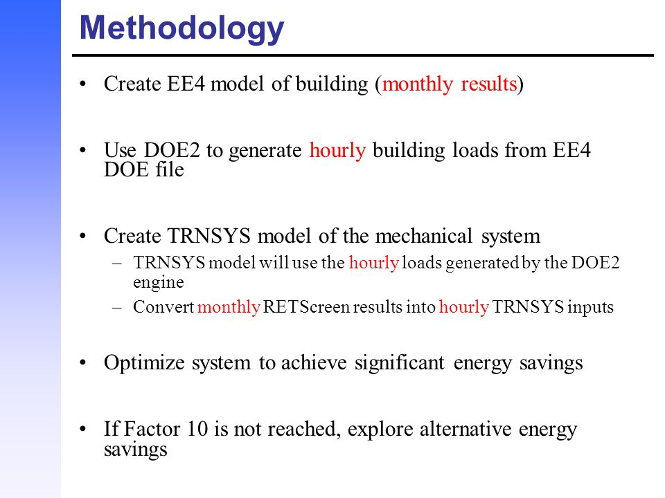 Methodology Create EE4 model of building (monthly results)