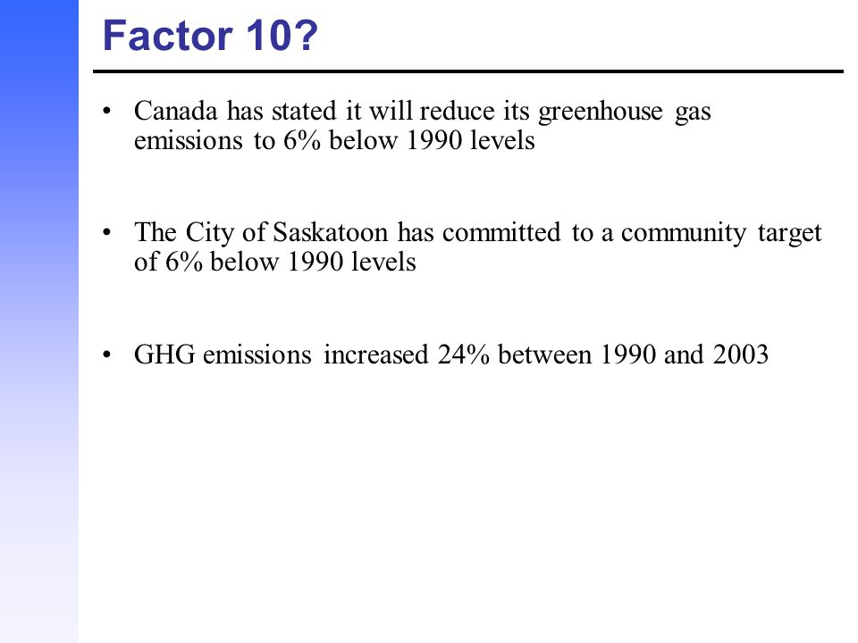 Factor 10 Canada has stated it will reduce its greenhouse gas emissions to 6% below 1990 levels.