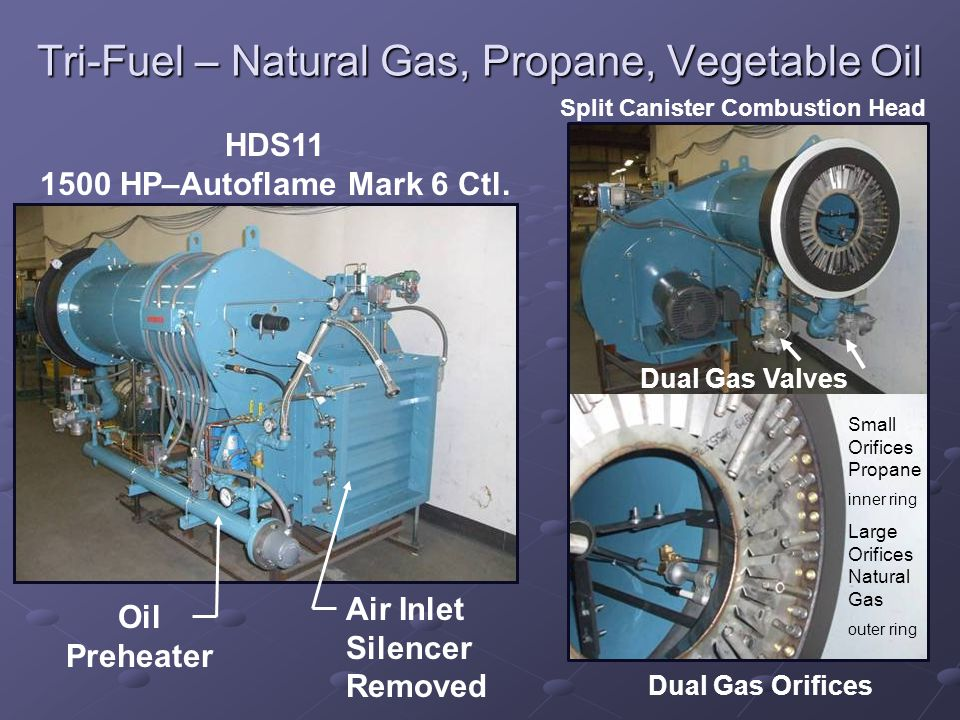 Tri-Fuel – Natural Gas, Propane, Vegetable Oil