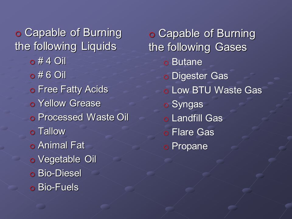 Capable of Burning the following Liquids