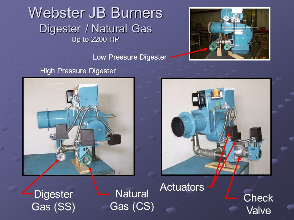 Webster JB Burners Digester / Natural Gas Up to 2200 HP