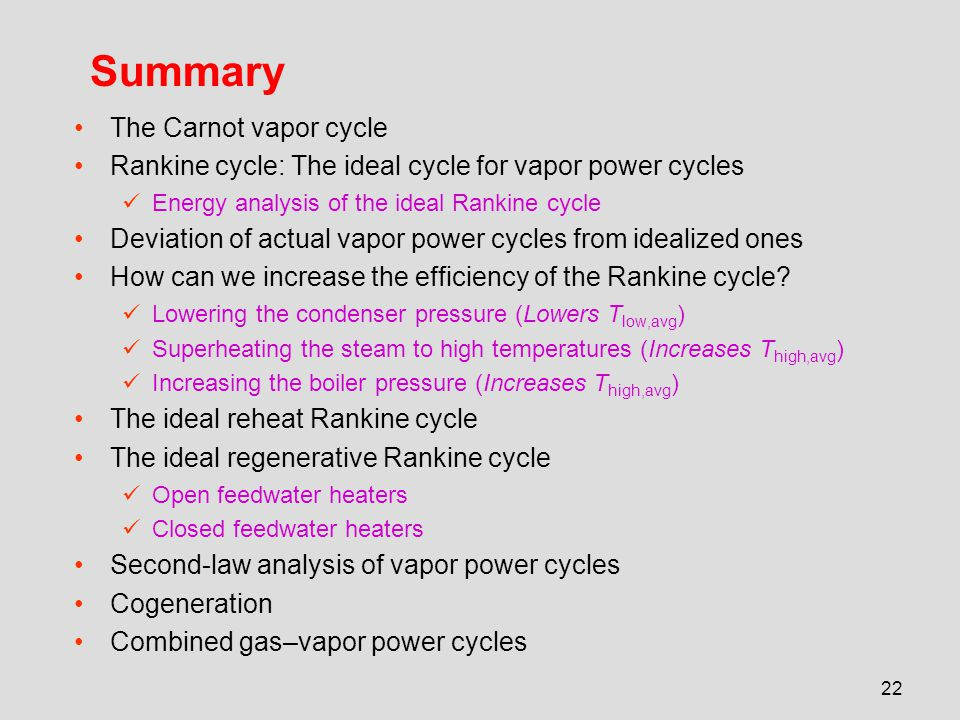 Summary The Carnot vapor cycle