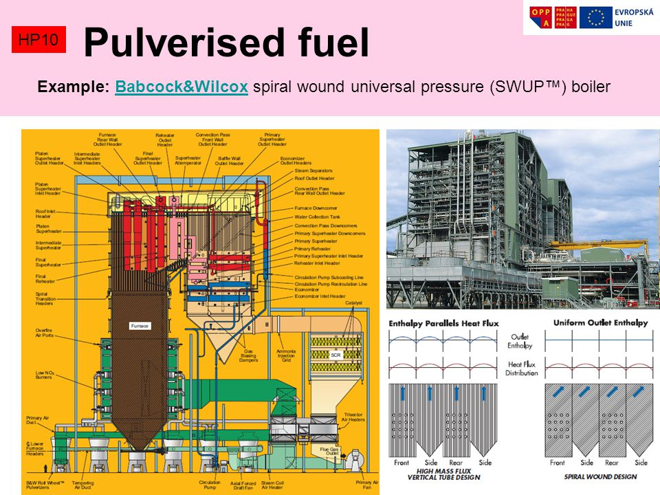 Pulverised fuel HP10 Example: Babcock&Wilcox spiral wound universal pressure (SWUP™) boiler