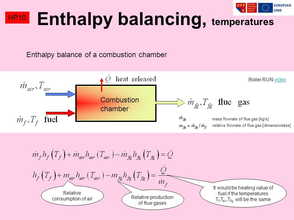 Enthalpy balancing, temperatures