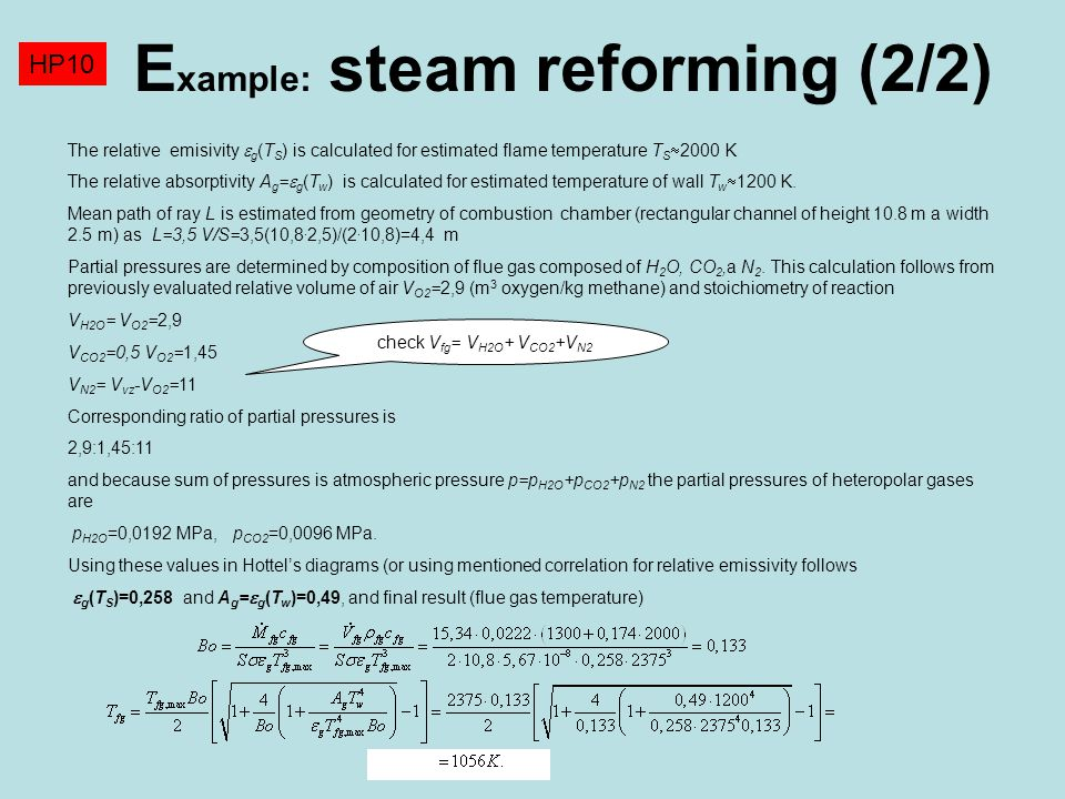 Example: steam reforming (2/2)