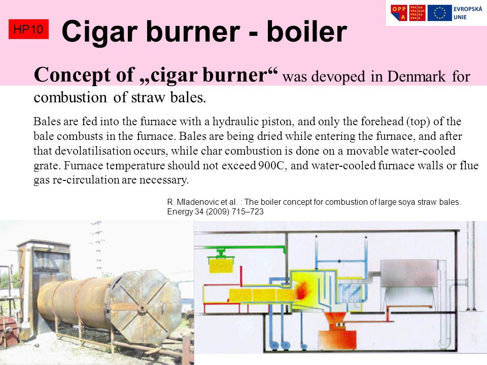 "Cigar burner - boiler HP10. Concept of ""cigar burner was devoped in Denmark for combustion of straw bales."