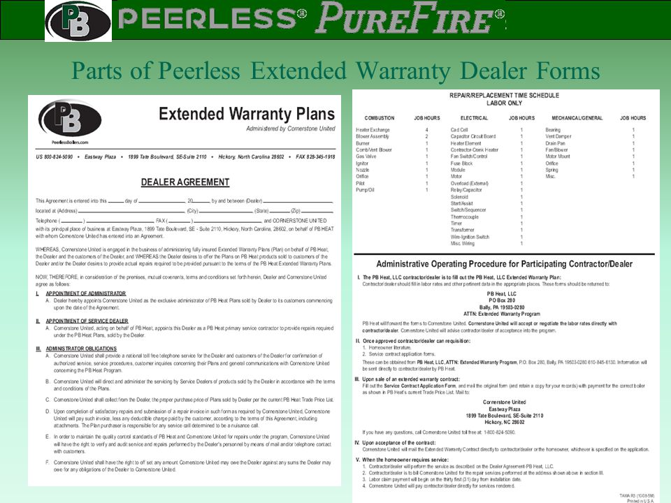 Parts of Peerless Extended Warranty Dealer Forms