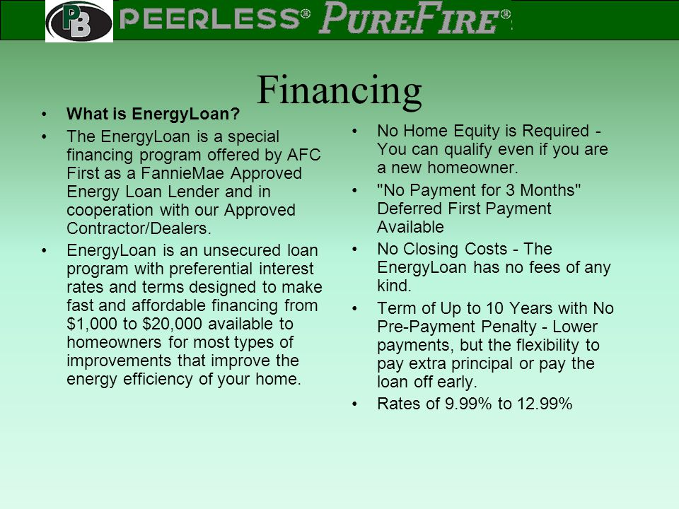 Financing What is EnergyLoan