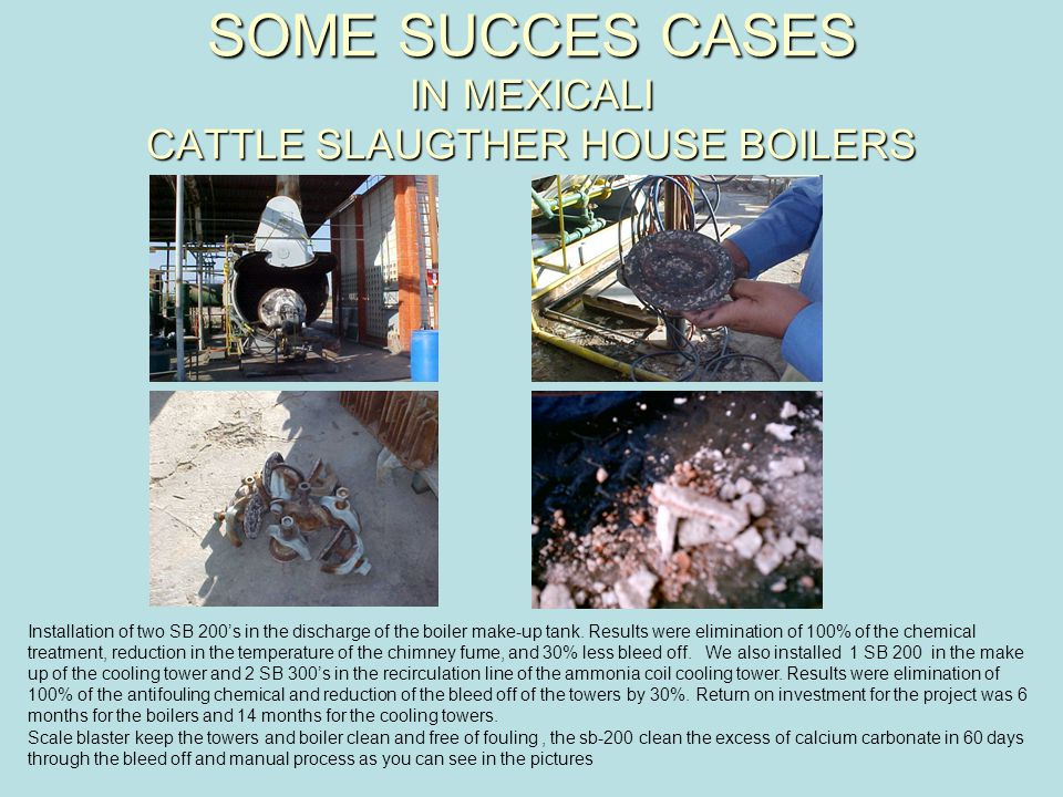 SOME SUCCES CASES IN MEXICALI CATTLE SLAUGTHER HOUSE BOILERS