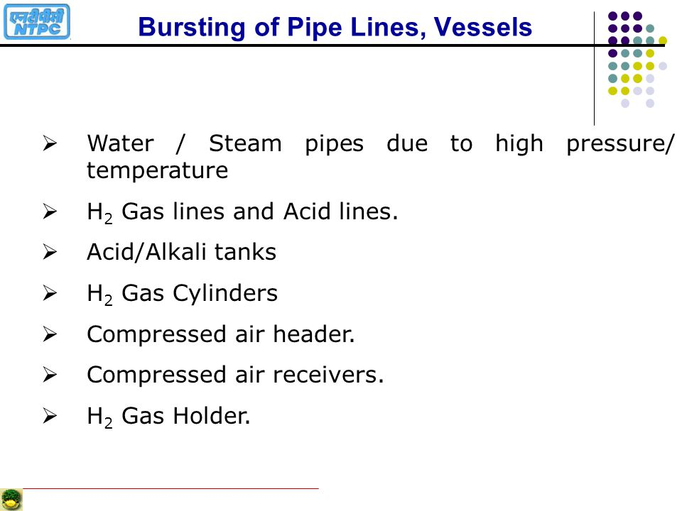 Bursting of Pipe Lines, Vessels