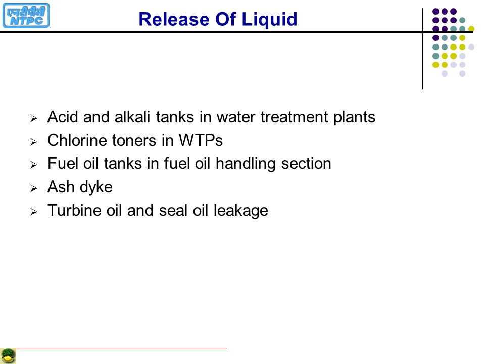Release Of Liquid Acid and alkali tanks in water treatment plants