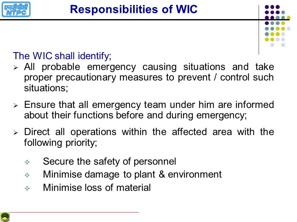 Responsibilities of WIC