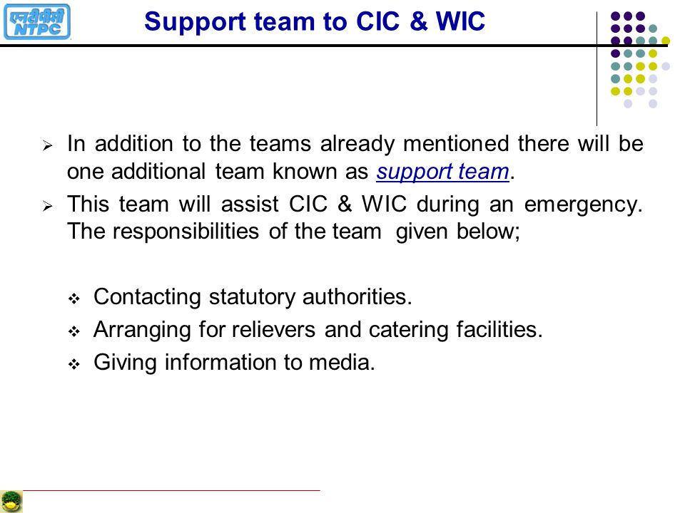 Support team to CIC & WIC
