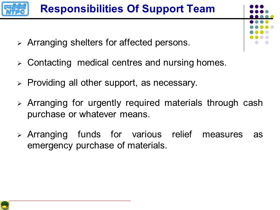 Responsibilities Of Support Team