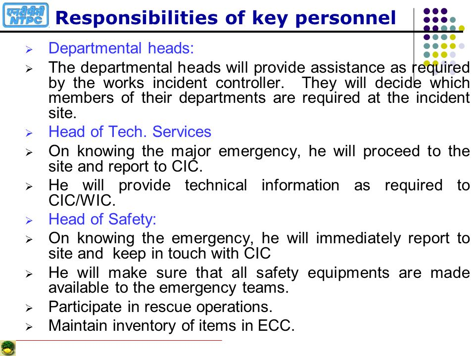 Responsibilities of key personnel