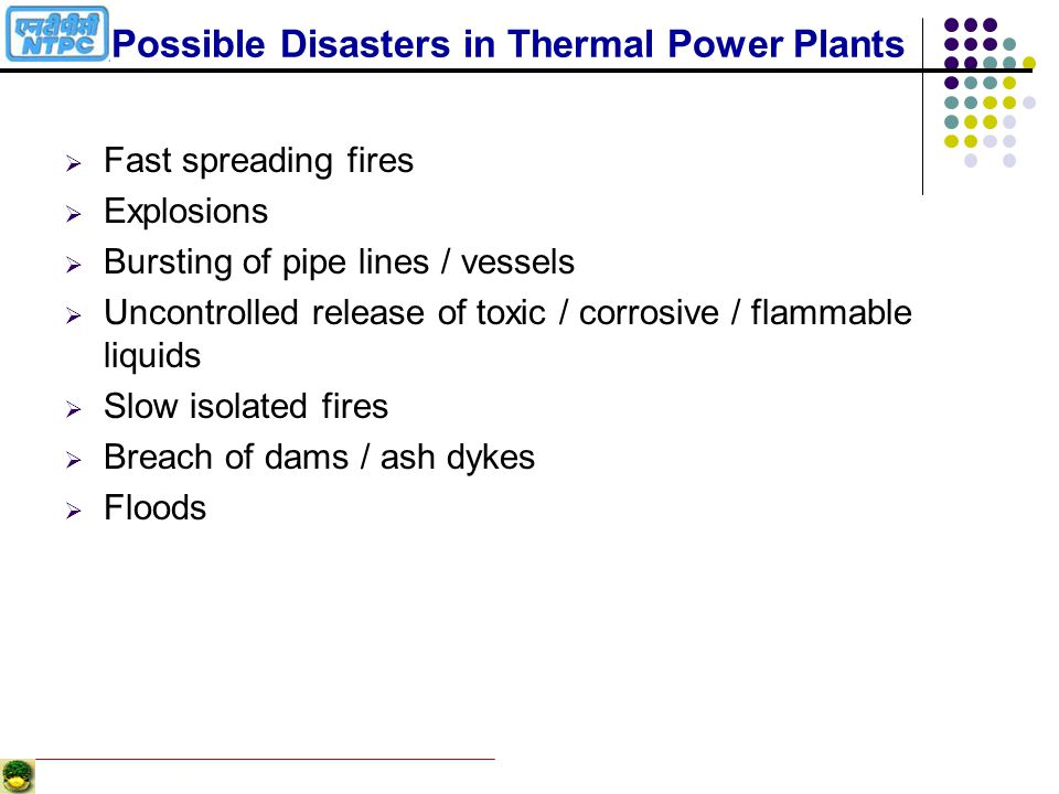 Possible Disasters in Thermal Power Plants