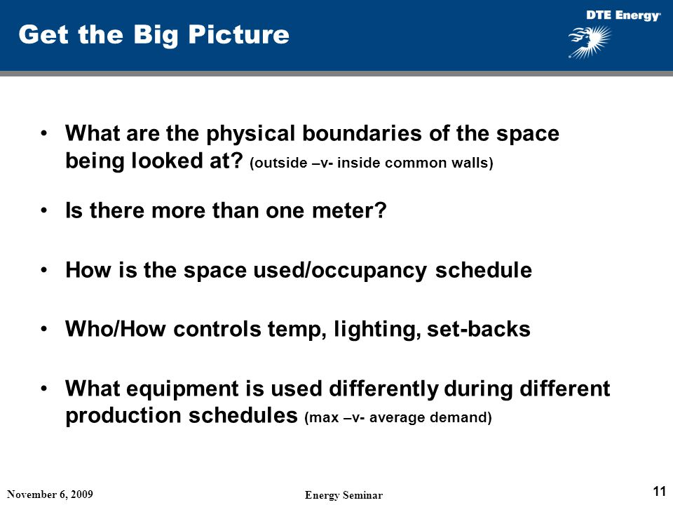 Get the Big Picture What are the physical boundaries of the space being looked at (outside –v- inside common walls)