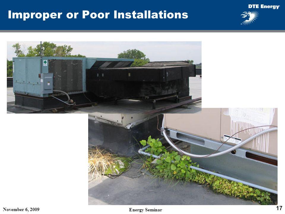 Improper or Poor Installations