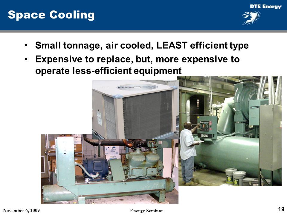 Space Cooling Small tonnage, air cooled, LEAST efficient type