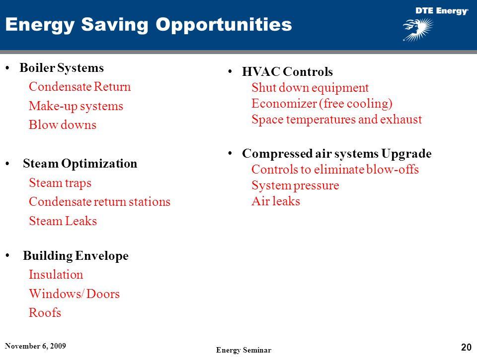 Energy Saving Opportunities