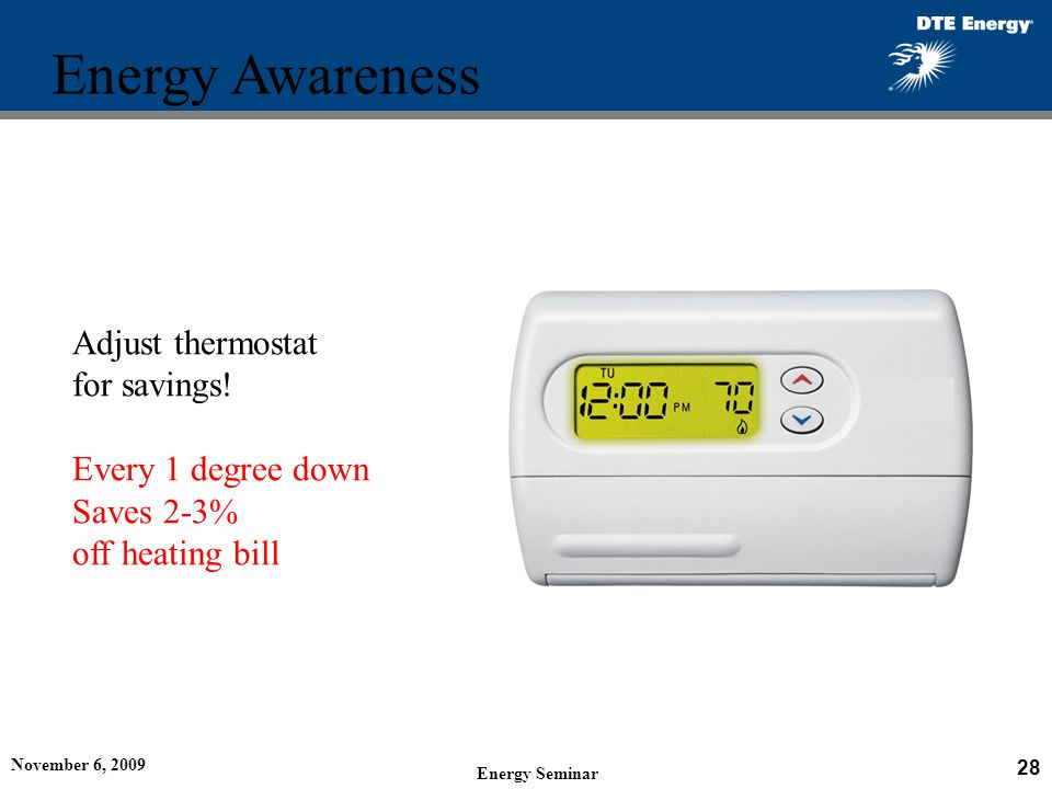 Energy Awareness Adjust thermostat for savings! Every 1 degree down