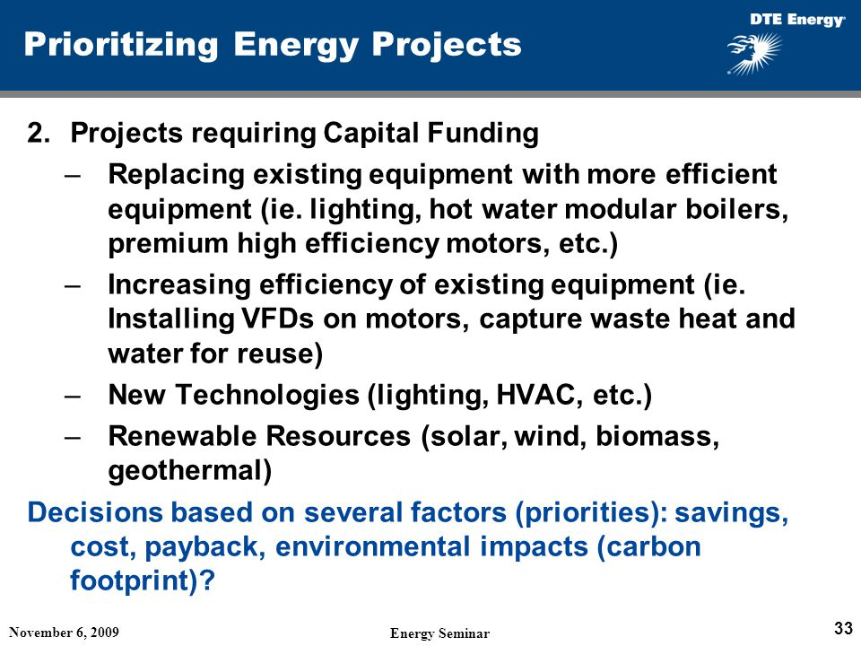 Prioritizing Energy Projects
