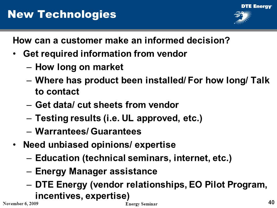 New Technologies How can a customer make an informed decision