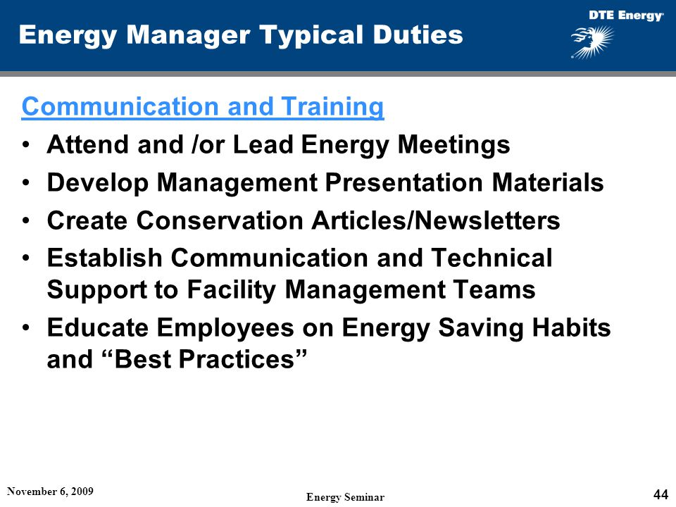 Energy Manager Typical Duties