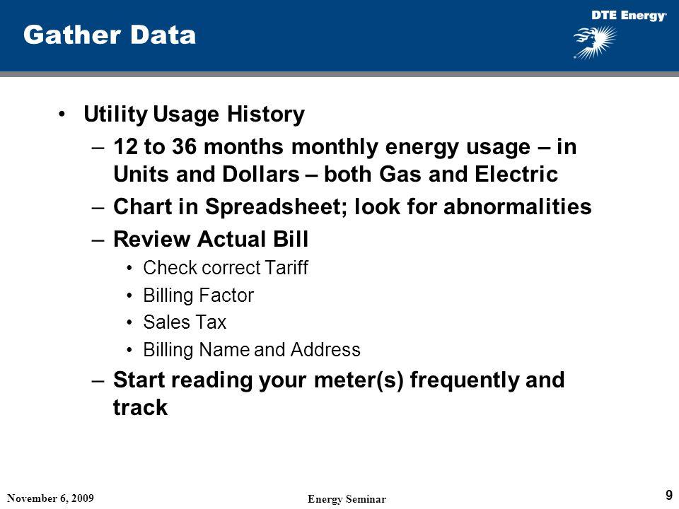 Gather Data Utility Usage History