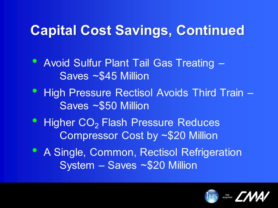 Capital Cost Savings, Continued