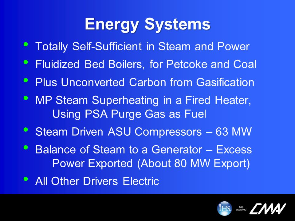 Energy Systems Totally Self-Sufficient in Steam and Power