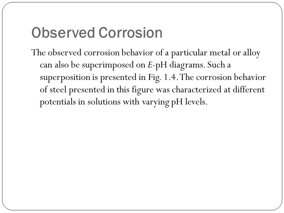Observed Corrosion