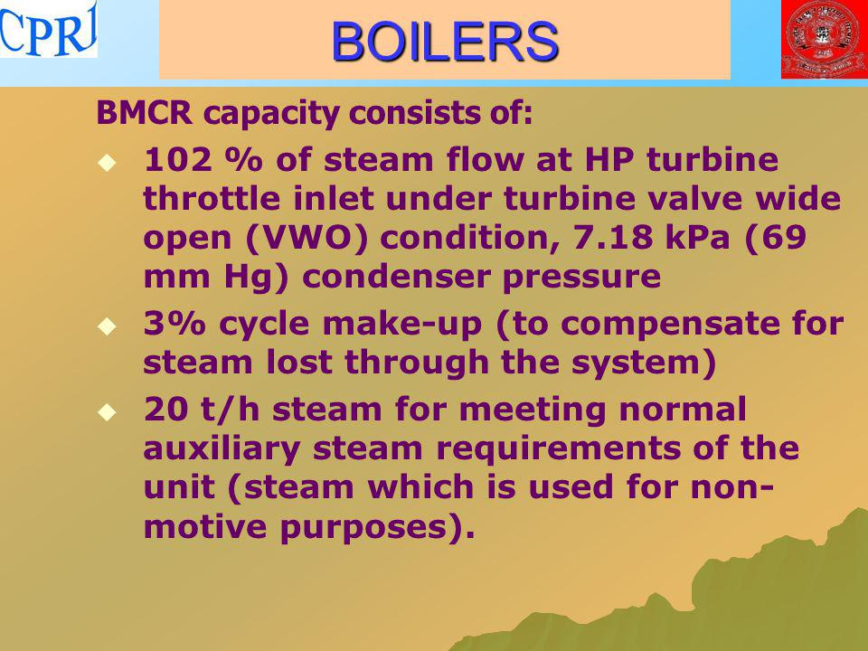 BOILERS BMCR capacity consists of: