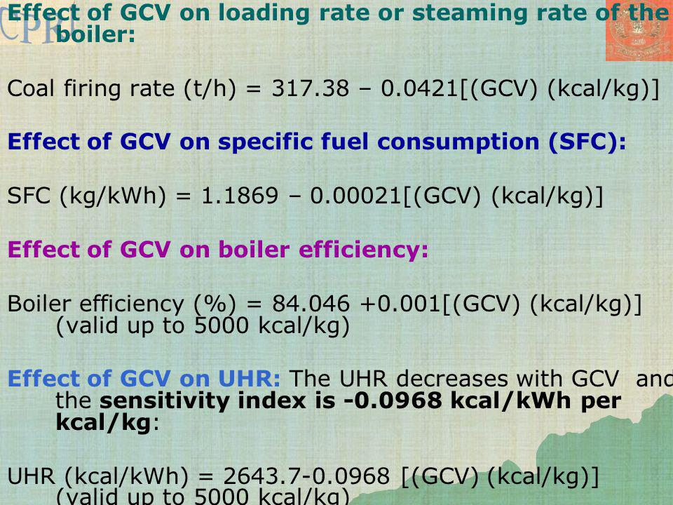 Effect of GCV on loading rate or steaming rate of the boiler: