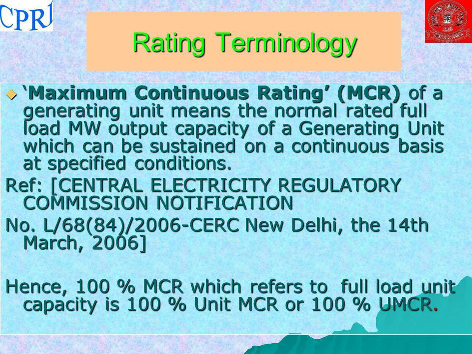 Rating Terminology