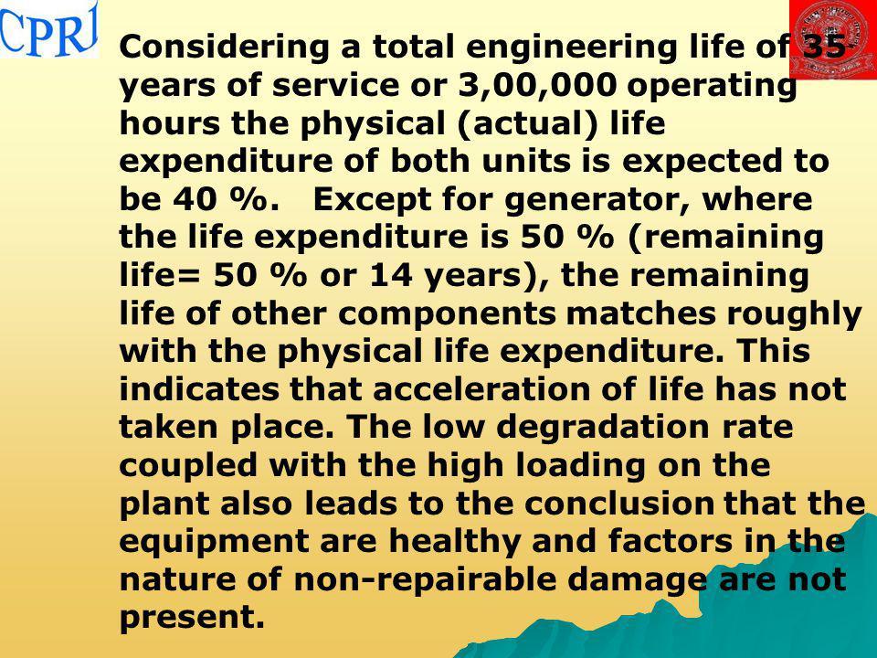 Considering a total engineering life of 35 years of service or 3,00,000 operating hours the physical (actual) life expenditure of both units is expected to be 40 %.