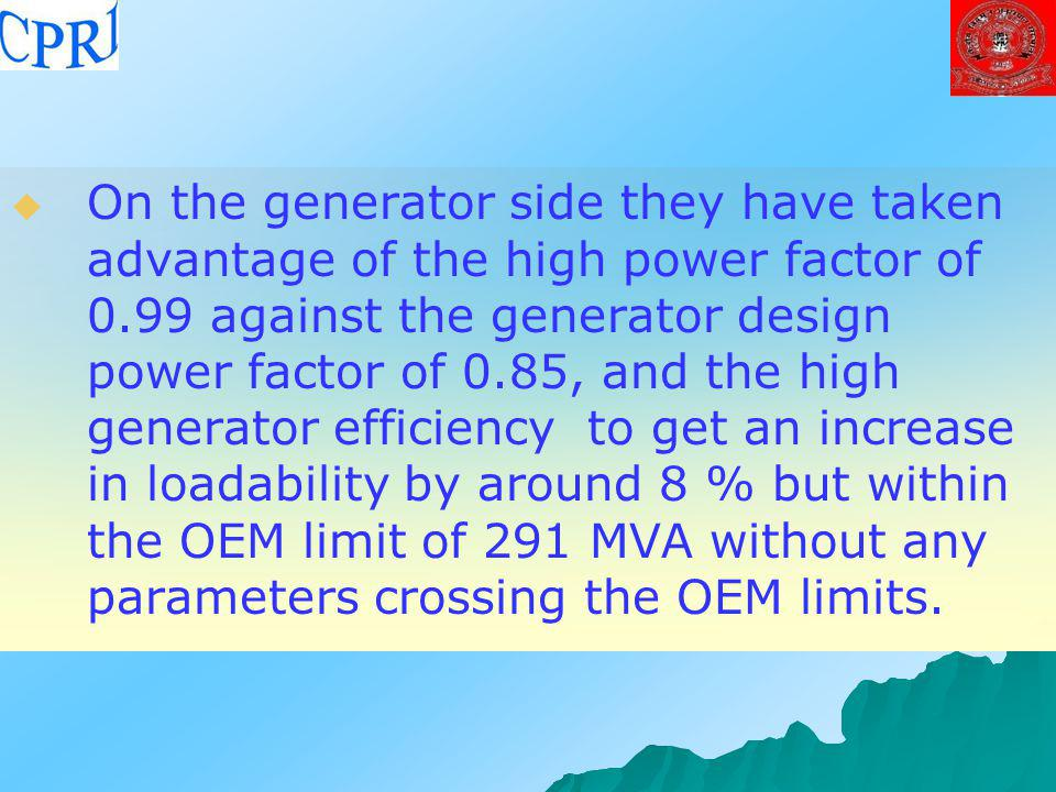 On the generator side they have taken advantage of the high power factor of 0.99 against the generator design power factor of 0.85, and the high generator efficiency to get an increase in loadability by around 8 % but within the OEM limit of 291 MVA without any parameters crossing the OEM limits.