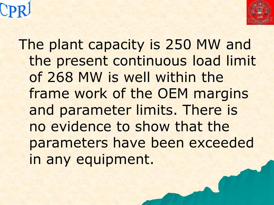 The plant capacity is 250 MW and the present continuous load limit of 268 MW is well within the frame work of the OEM margins and parameter limits.