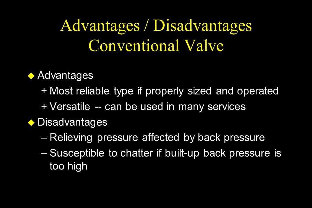 Advantages / Disadvantages Conventional Valve