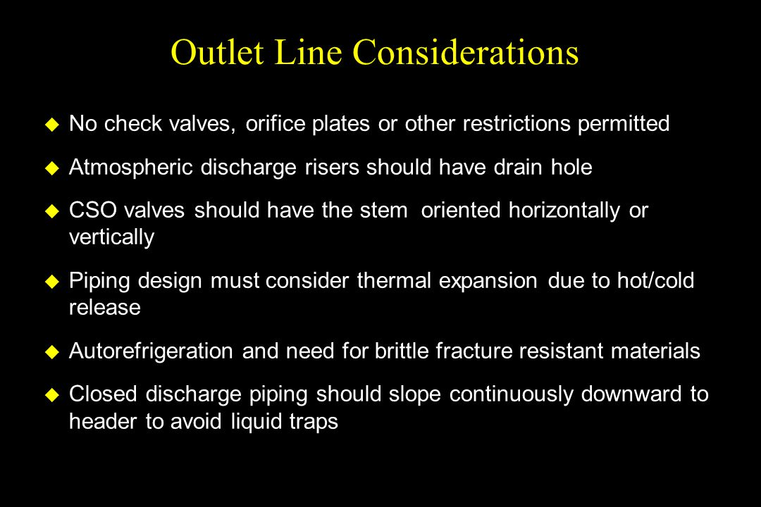 Outlet Line Considerations