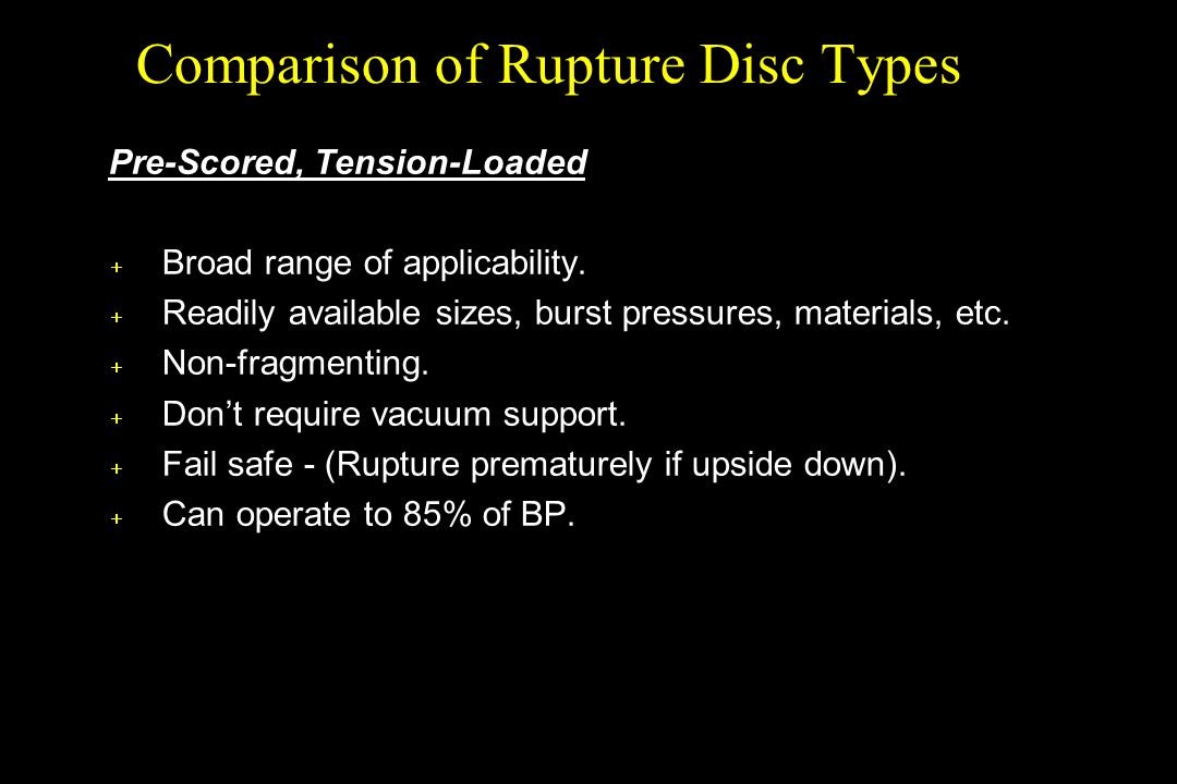Comparison of Rupture Disc Types