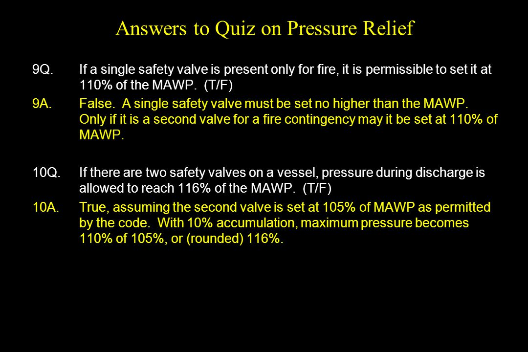 Answers to Quiz on Pressure Relief
