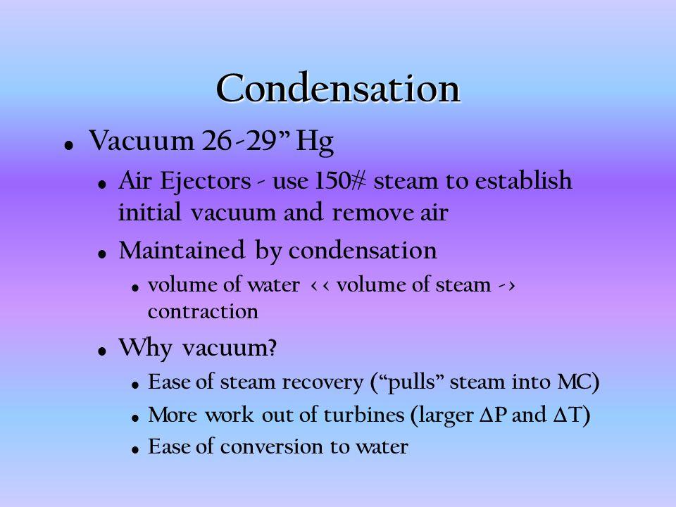 Condensation Vacuum 26-29 Hg