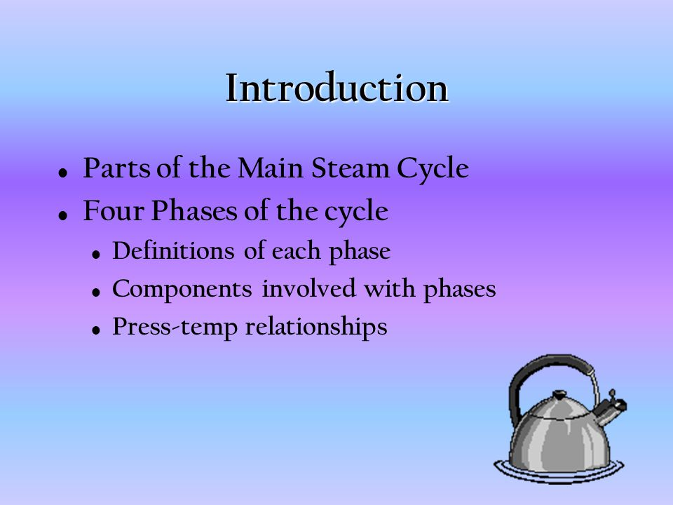 Introduction Parts of the Main Steam Cycle Four Phases of the cycle