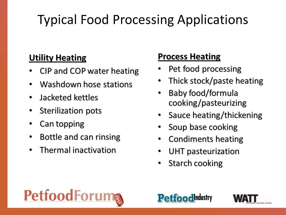 Typical Food Processing Applications