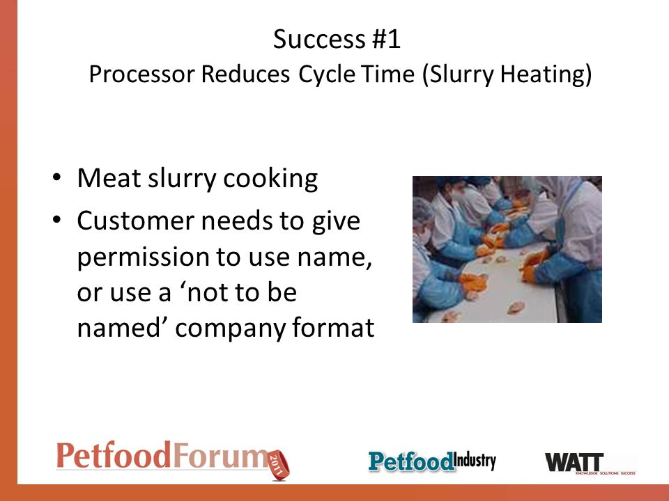 Success #1 Processor Reduces Cycle Time (Slurry Heating)