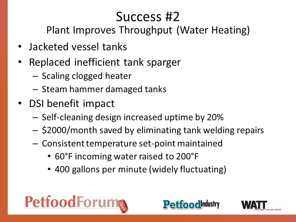 Success #2 Plant Improves Throughput (Water Heating)