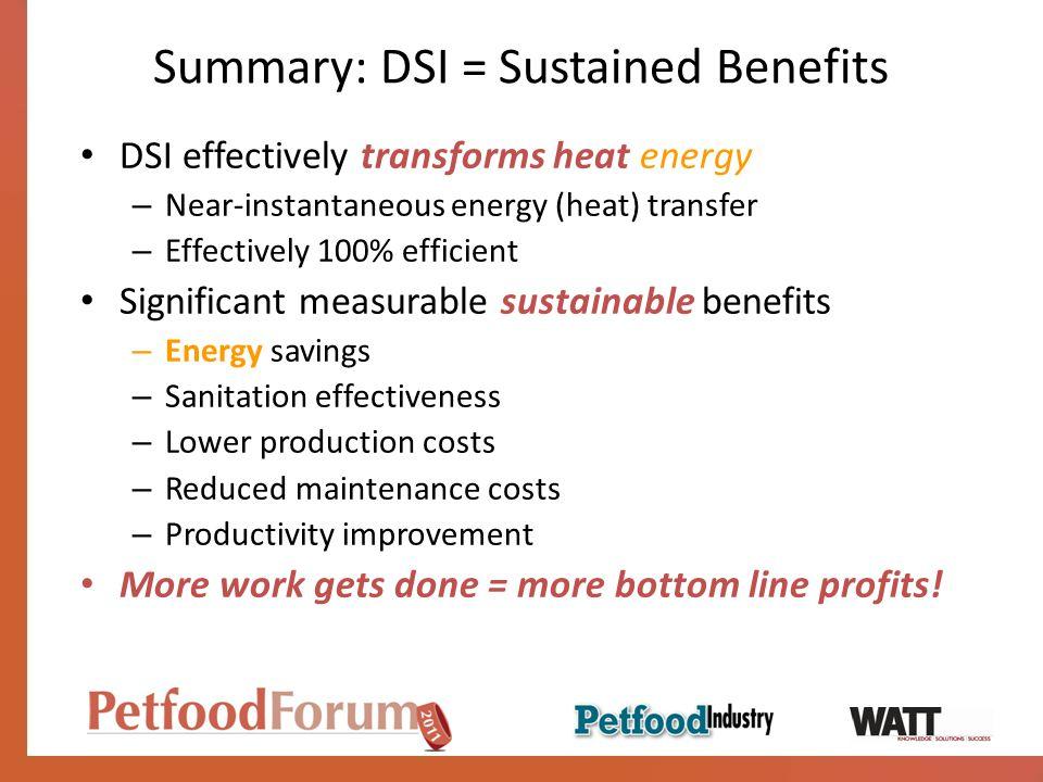 Summary: DSI = Sustained Benefits