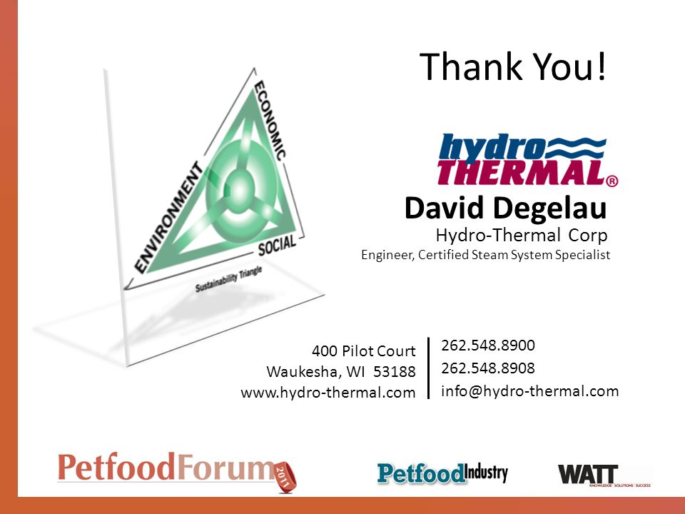 David Degelau Hydro-Thermal Corp 262.548.8900 400 Pilot Court