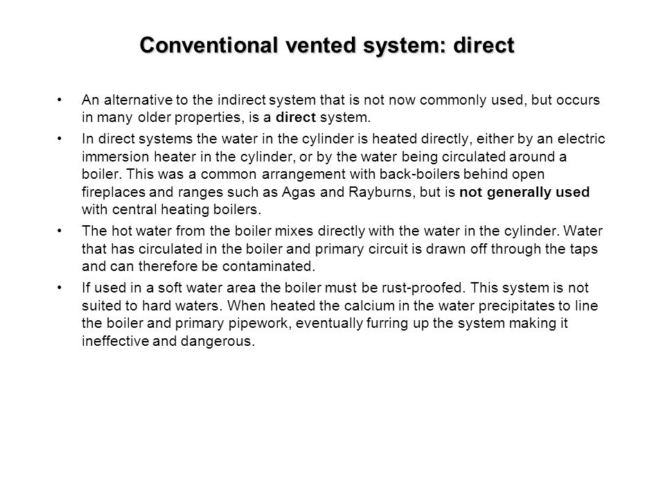 Conventional vented system: direct
